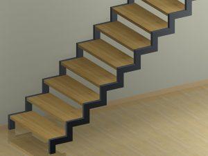 Zweiholmtreppe mit Stufen zwischen den Holmen