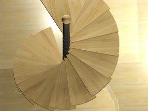 Schody wewnętrzne spiralne - widok z góry