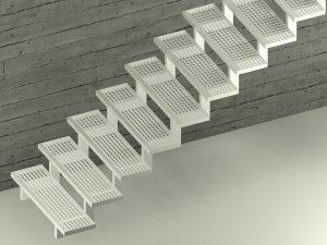 Zweiholmtreppe mit Stufen auf den Holmen